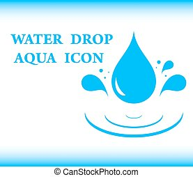 water drop aqua icon - blue background water with drop aqua...