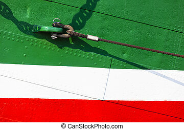 Colorful Ship Hull - A colorful ship hull in green, white...