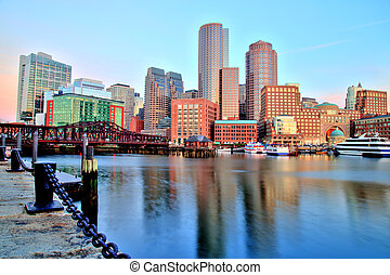 Boston Skyline with Financial District and Boston Harbor at Sunrise Panorama
