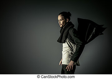 stylish man - Fashion shot of a handsome male model in black...