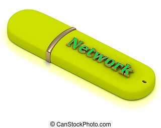 Network - inscription bright volume letter on USB flash...