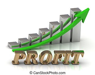 PROFIT- inscription of gold letters and Graphic growth and...