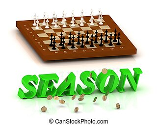 SEASON- inscription of green letters and chess on white...