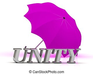 UNITY- inscription of silver letters and umbrella on white...