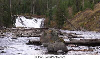 Lewis Falls - scenic lewis falls in yellowstone national...