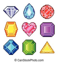 Pixel gems for games icons vector s - Pixel gems for games...
