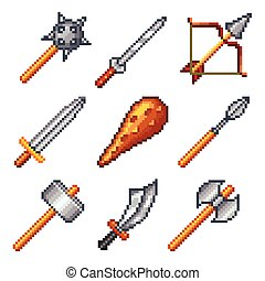 Pixel weapons for games icons vecto - Pixel weapons for...
