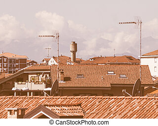 Retro looking View of Settimo - Vintage looking View of the...