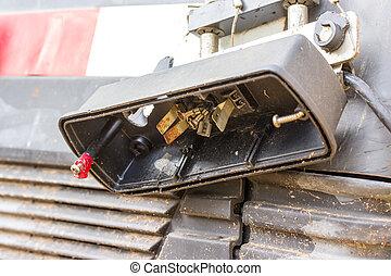 Broken car tail light