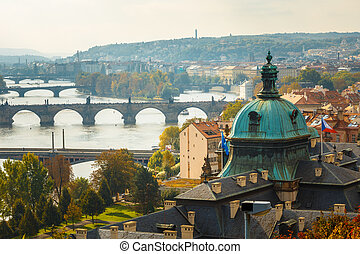 Aerial view of cityscape of Prague, Czech Republic. View of the