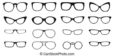 Eyeglasses silhouette set, collection of black silhouettes...