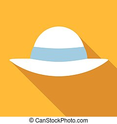 Beach hat colored flat icon - Beach hat icon, flat colored...