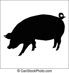 Pig silhouette, black animal image isolated on white