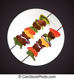 Shish-kebab illustration, dish plate isolated on black