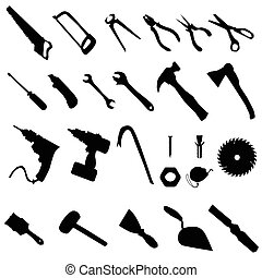 Tools silhouette set, collection of black silhouettes on...
