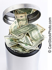 DOLLARS BIN - finance concept with money and metal tub on...