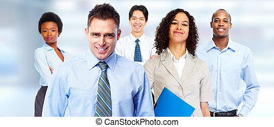 Business team. - Young attractive business woman and workers...