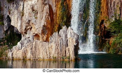 Waterfall and Lake in Plitvice, National Park Croatia -...