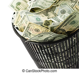 dollars bin - finance concept isolated on white background,...