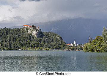 Medieval castle, St. Martins Parish Church and Bled Lake