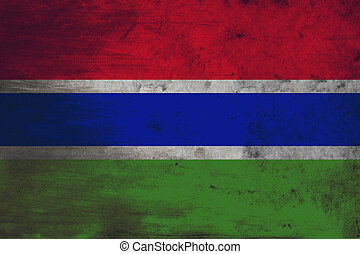 Grunge flag of Gambia - The flag of the Gambia consists of...