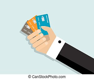 convenience of paying by credit car - Hand holding three...