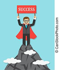 worker came to the goal and succeed - Happy businessman in a...