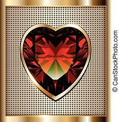Ruby heart background - Gold background with ruby red heart,...