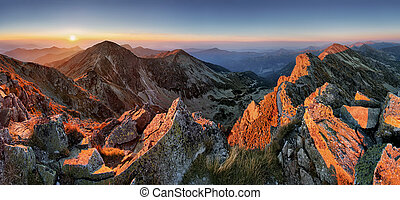 Majestic sunset in autumn mountains landscape