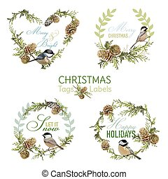 Vintage Christmas Birds - Banners, Tags and Labels - in vector