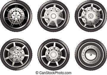 Vector car tire icons. Wheels isolateted on white