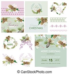 Scrapbook Design Elements - Christmas Theme - in vector