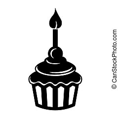 Birthday cupcake with candle icon