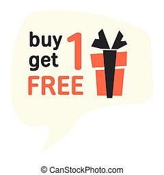 Buy one get one for free vector label