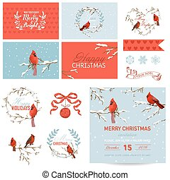 Scrapbook Design Elements - Vintage Christmas Birds Theme - in vector