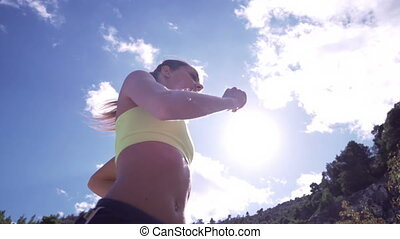 Female Running In Slow Motion - Young Woman Jogging Into...