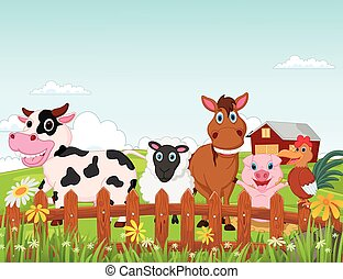 Happy farm animal cartoon collectio