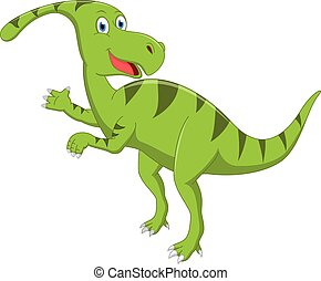 Happy dinosaur cartoon - Vector illustration of Happy...