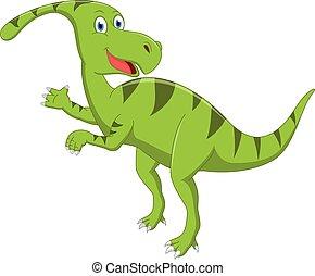 Happy dinosaur cartoon - Vector illustration of Happy...