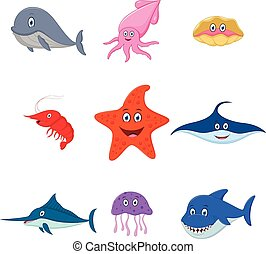 sea animal cartoon set