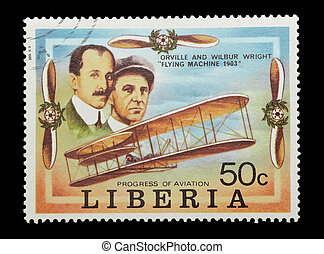 wright brothers - liberian mail stamp celebrating the first...