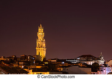 Church Klerigush in night Porto