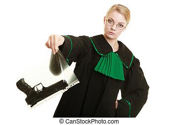 mujer, abogado, arma de fuego, marcado, evidencia, bolsa,...