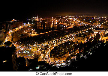 Malaga at Night - Cityscape