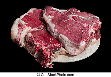 Florentine steak ready for grill - Thick slice of meat with...