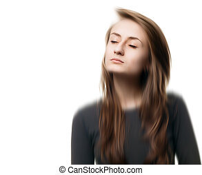 Blurred image of a young woman with eyes closed - Blurred...