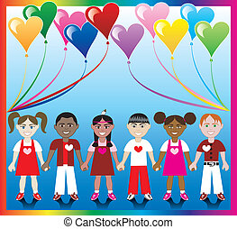 Heart Balloon Kids 1 - Vector Illustration of 10 Heart...