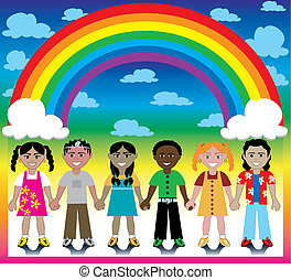 Rainbow Background with Kids - Vector Illustration of 6...