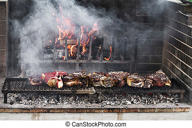 BBQ with florentines steaks - Thick slices of meat from...