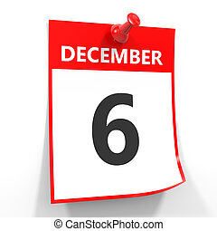 6 december calendar sheet with red pin. - 6 december...